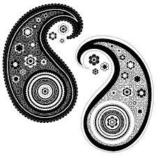 yin yang paisley design drawing by serena king