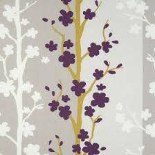Yellow And Purple Curtains Blomma Scandia Fabric Collection F0328 02