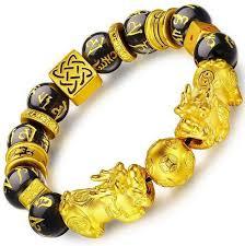 metal bead bracelet images Xj001houhui feng shui obsidian bead hand carved mantra golden jpg