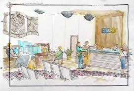 contemporary bank interior design in watercolor by sabrelupe on