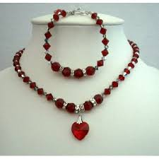 Making Swarovski Jewelry - necklace u0026 bracelet swarovski siam red crystals heart pendant