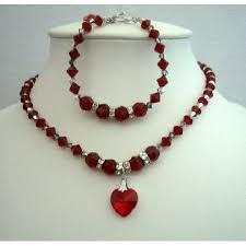 swarovski necklace red images Necklace bracelet swarovski siam red crystals heart pendant jpg
