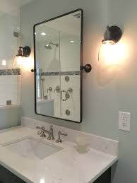 Pottery Barn Fixtures by Our Shower Renovation Sherwin Williams Sea Salt Kohler Artifacts