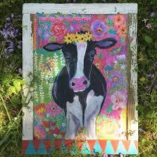 boho cow in a handmade frame my art pinterest handmade