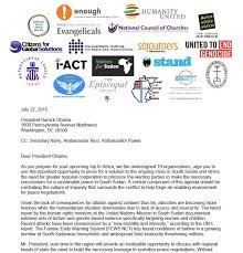 open ngo letter to president obama on south sudan the enough project