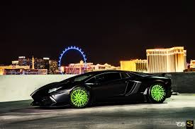 Green Lamborghini Aventador - matte black lamborghini aventador on lime green savini rims cars