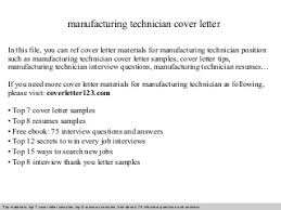 manufacturing technician cover letter manufacturing production