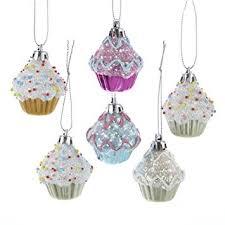 kurt adler 2 cupcake ornament set of 6 home kitchen