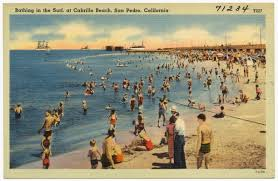 bathing in the surf at cabrillo beach san pedro california