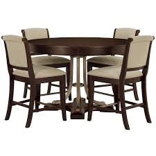 Round Dining Room Tables For 4 by City Furniture Canyon Mid Tone Round High Table U0026 4 Upholstered