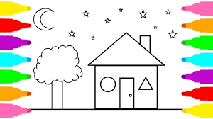 drawing and coloring house coloring pages house for kids learn