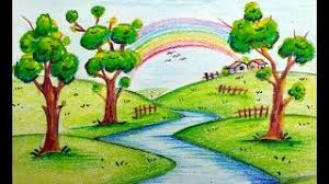 hmongbuy net how to draw colorful scenery with rainbow for kids