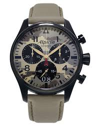 ALPINA WATCHES  Startimer Pilot Big Date Chronograph Desert Camouflage  ref  AL    MLY FBS