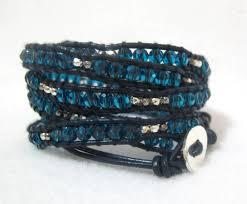 blue crystal leather beaded wrap bracelet