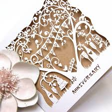 wedding anniversary card laser cut card by the hummingbird