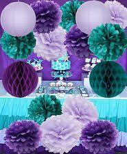 mermaid party supplies mermaid party supplies 16pcs decorations teal purple lavender pom