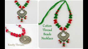 silver ball beads necklace images Antique jewelry stylish cotton thread beads necklace oxidized jpg