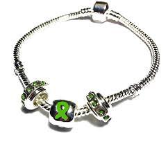 cerebral palsy ribbon palsy awareness silver dangling charms bracelet