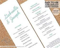 easy wedding program template printable wedding program template aqua quatrefoil diy