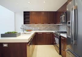 Kitchen Cabinets Walnut Flat Panel Wood Veneer Kitchen Cabinets U Shape With Breakfast Table