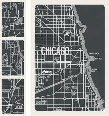Map Chicago by Chicago Vintage Map Detail