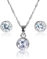 warren stud earrings sterling silver diamonflash cubic zirconia necklace earring set