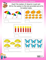 count the objects in each set and write its number and number name