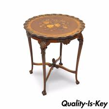 Small Accent Table Ls Antique 28 H Louis Xv Style Walnut Flower Inlaid