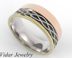gold wedding band mens men s four tone gold wedding band vidar jewelry unique custom