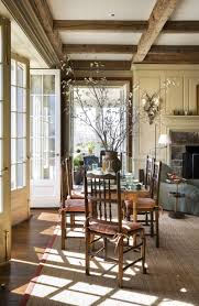 House Ceiling French Doors Fireplace With Paneling Ceiling Beams From The