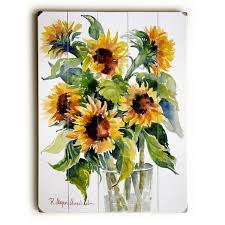 Glass full of Sunflowers Wall Decor by ArtLicensing Free