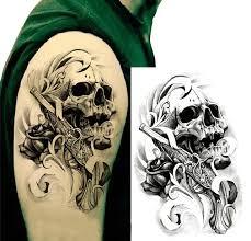 temporary tattoos large skull gun shoulder arm transfer