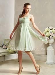a linie tragerlos knielang chiffon brautjungfernkleid mit schleife blumen p552 details zu grün damen chiffon kleid schleife chiffonkleid
