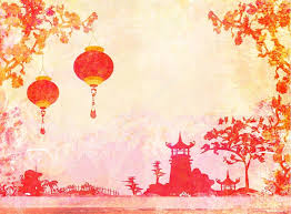 japanese style old paper with asian landscape and chinese lanterns vintage