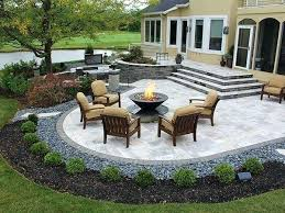 Paver Patio Designs With Fire Pit Backyard With Pavers And Grass Backyard Patio Pavers Ideas