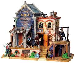 lemax halloween houses amazon com lemax 95803 dry gulch county jail spooky town lighted