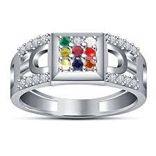 platinum sterling rings images Buy 925 sterling silver white platinum plated multicolor navratna jpg