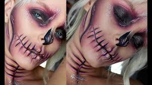glam skull halloween makeup youtube