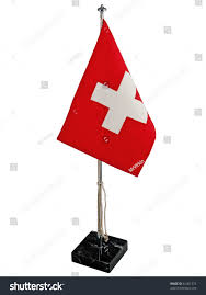 White Cross On Red Flag Stylish Office Bright Swiss Flag Red Stock Photo 81401374