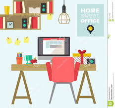home office flat interior illustration stock vector image 43777858