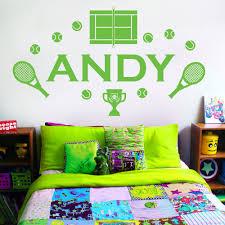 wall designer wall art stickers personalised name boys girls wall art sticker tennis wimbledon racket tennis court
