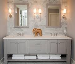 sparkling designer bathroom vanities with baseboards gray walls