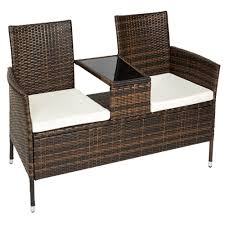 tectake poly rattan bench with glass table 2 seats with cushions