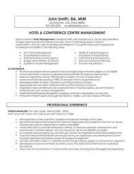 hospitality resume template 2 a resume template for a hotel and conference centre manager you can