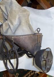 antique seed spreader hand crank farm tool hand seeder canvas bag