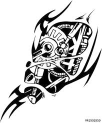 tattoo design in biomechanical style vinyl ready