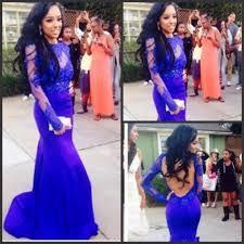 online get cheap long sleeve open back blue prom dress aliexpress