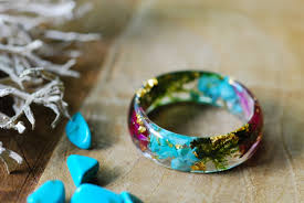 turquoise gemstone turquoise ring raw stone ring flower resin ring gemstone