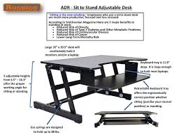 rocelco adr height adjustable sit stand desk computer riser dual