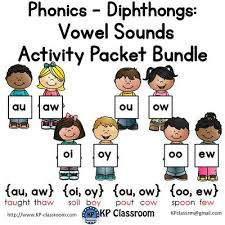 diphthongs au aw oi oy ou ow oo ew vowel sounds activity packet